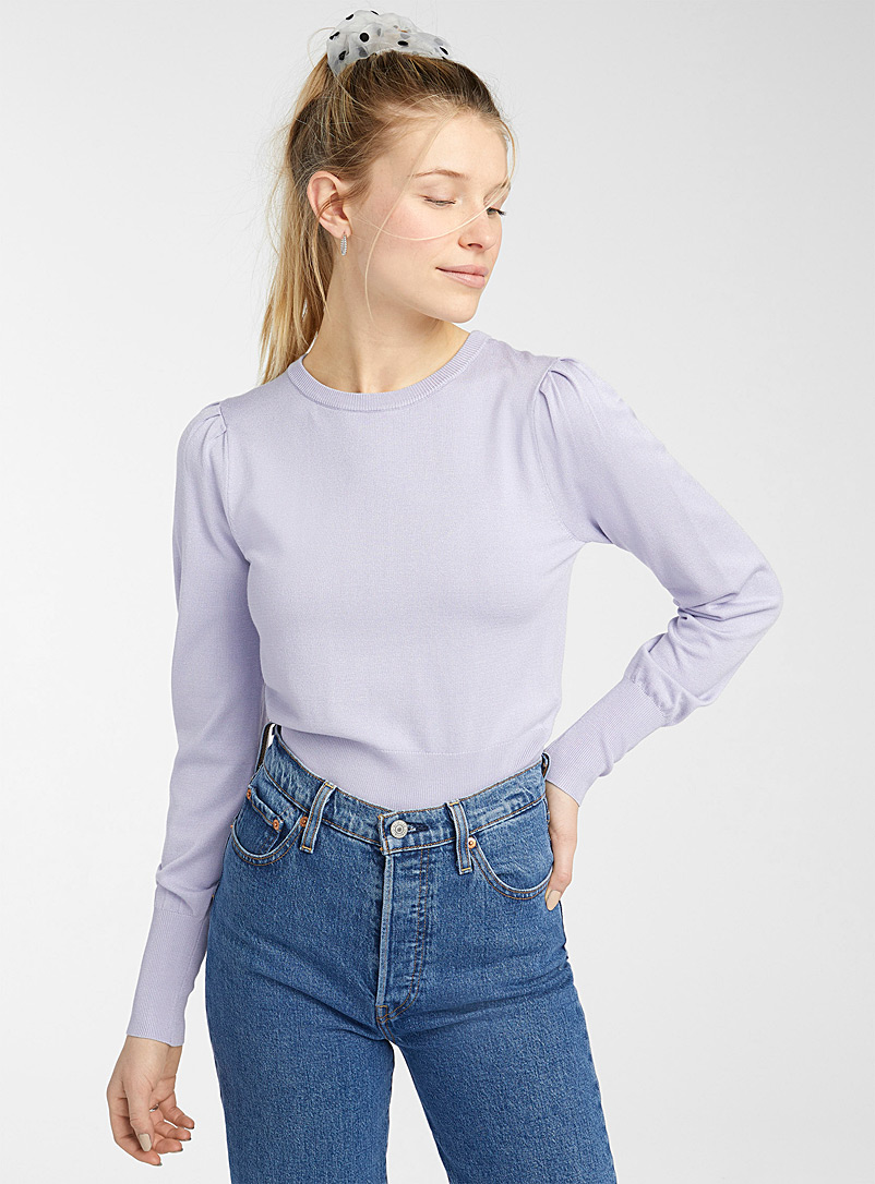 Cropped pleated-shoulder sweater