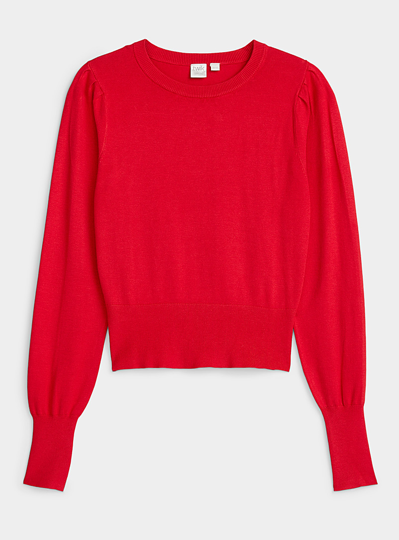 Twik Red Cropped pleated-shoulder sweater for women