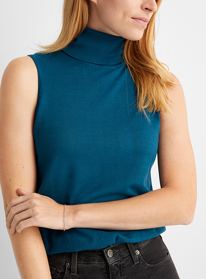 Contemporaine Slate Blue Fine knit sleeveless turtleneck for women