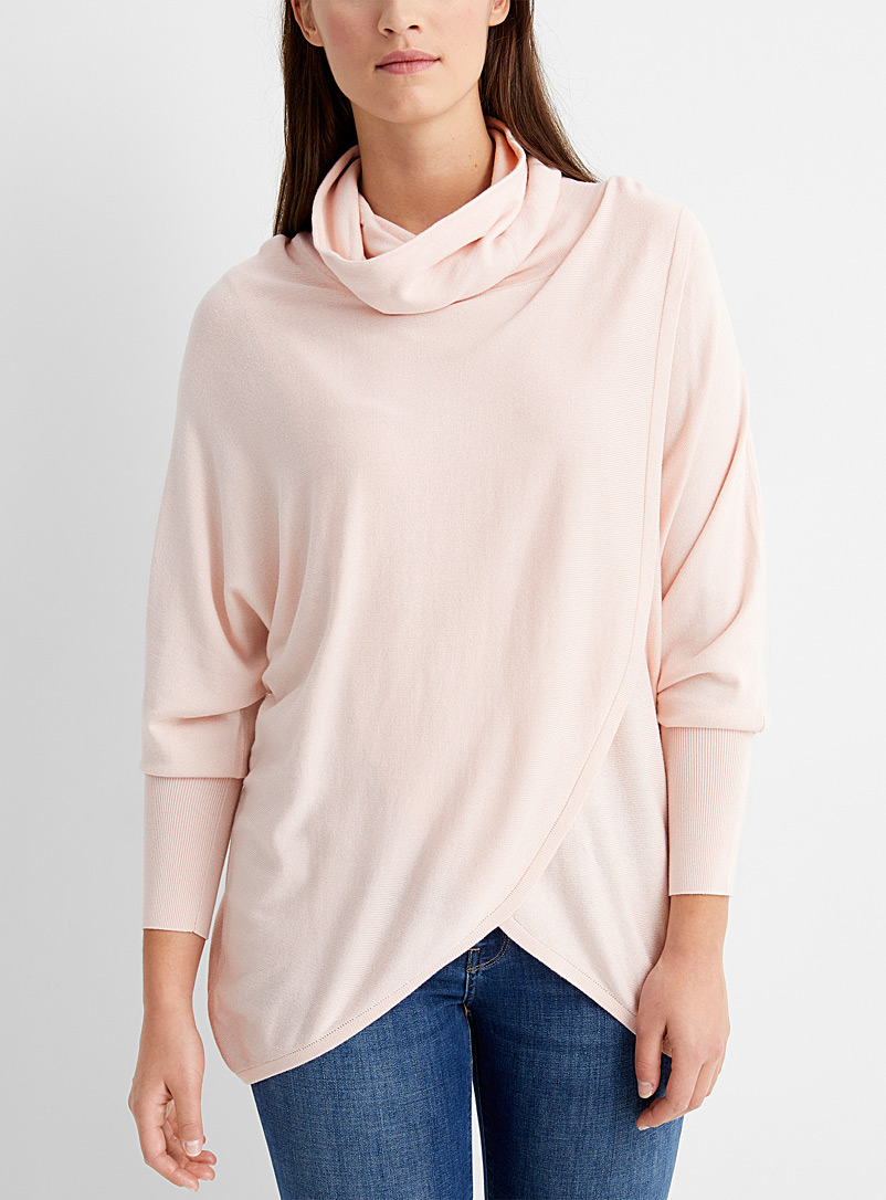 Contemporaine Pink Draped collar crossover tunic for women