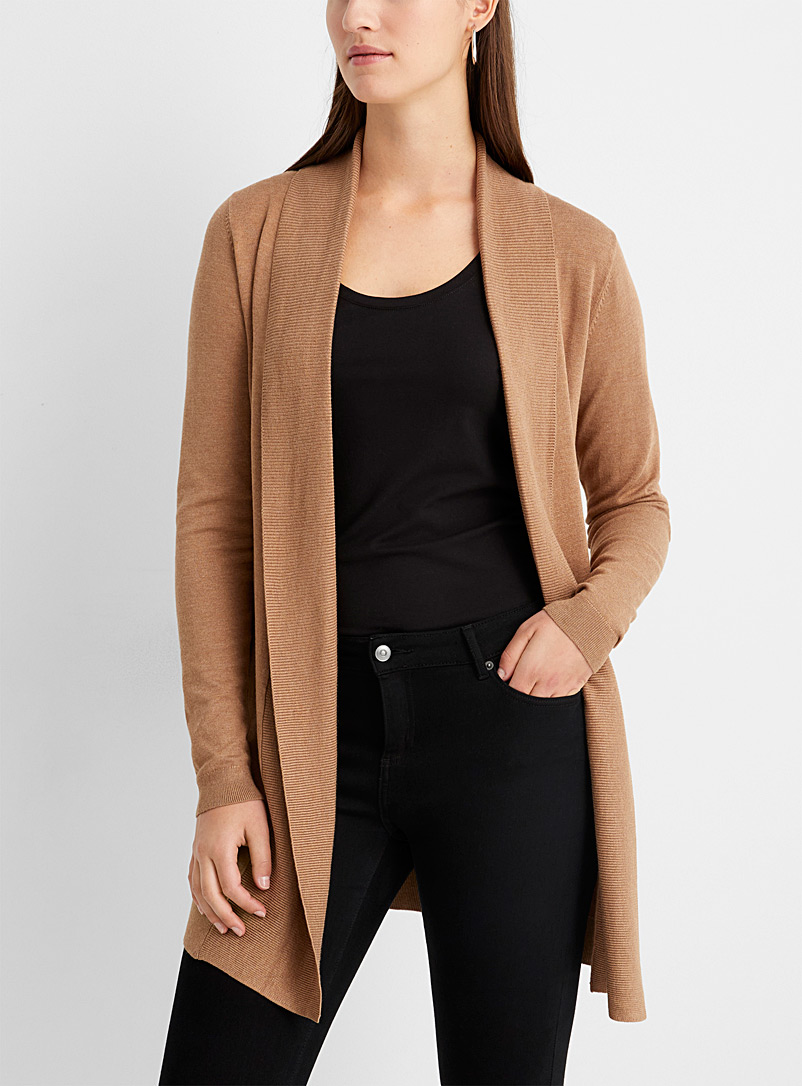 Contemporaine Honey Long ribbed shawl-collar cardigan for women
