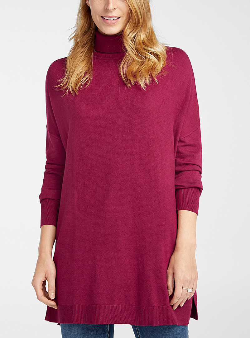 Contemporaine Medium Pink Oversized turtleneck tunic for women