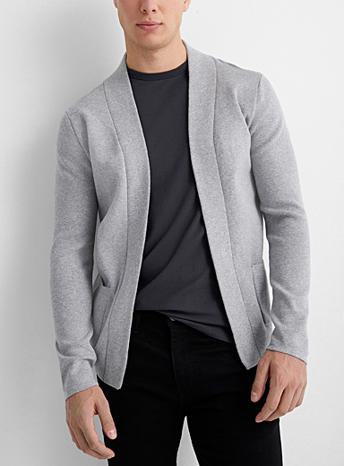 Structured-knit open cardigan