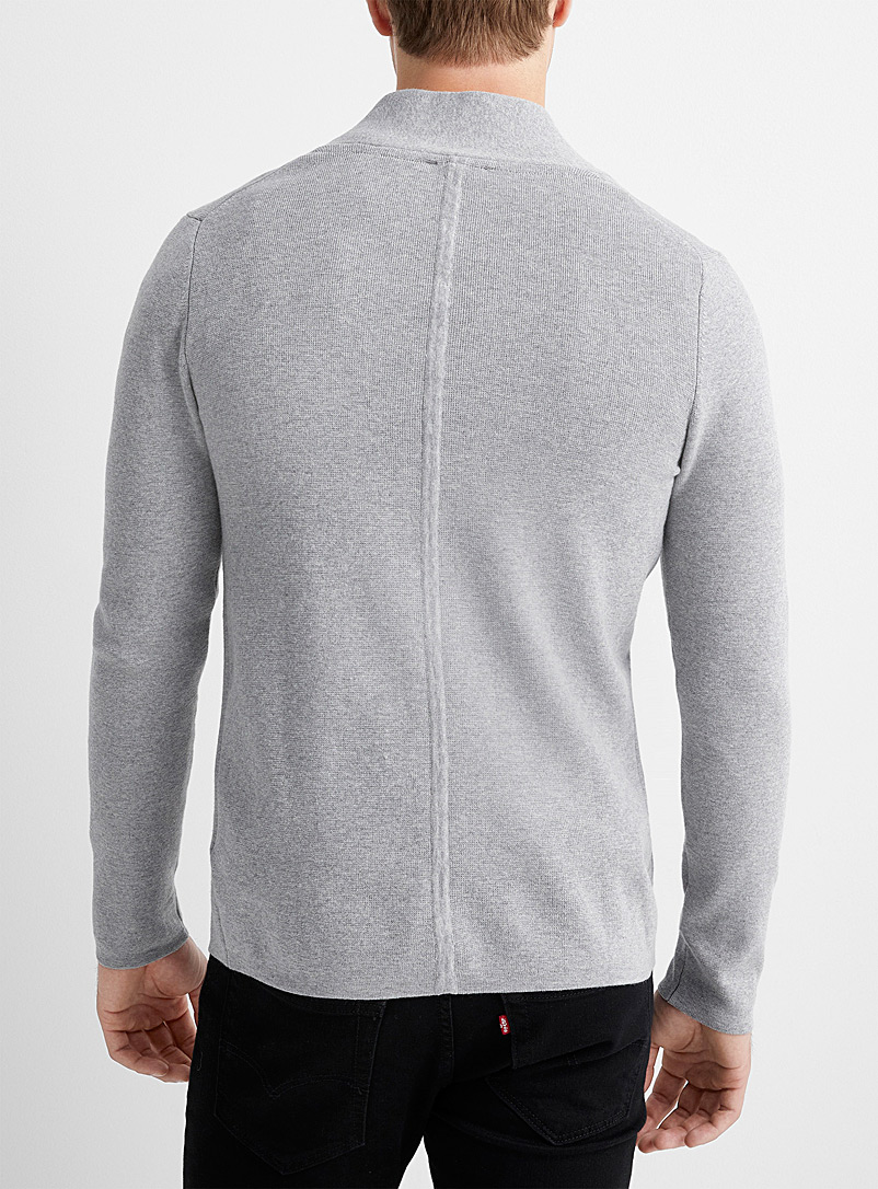 Le 31 Grey Structured-knit open cardigan for men