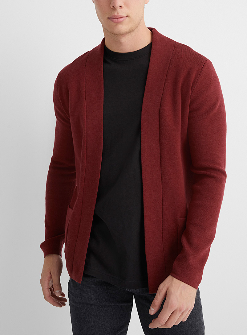 Le 31 Black Structured-knit open cardigan for men