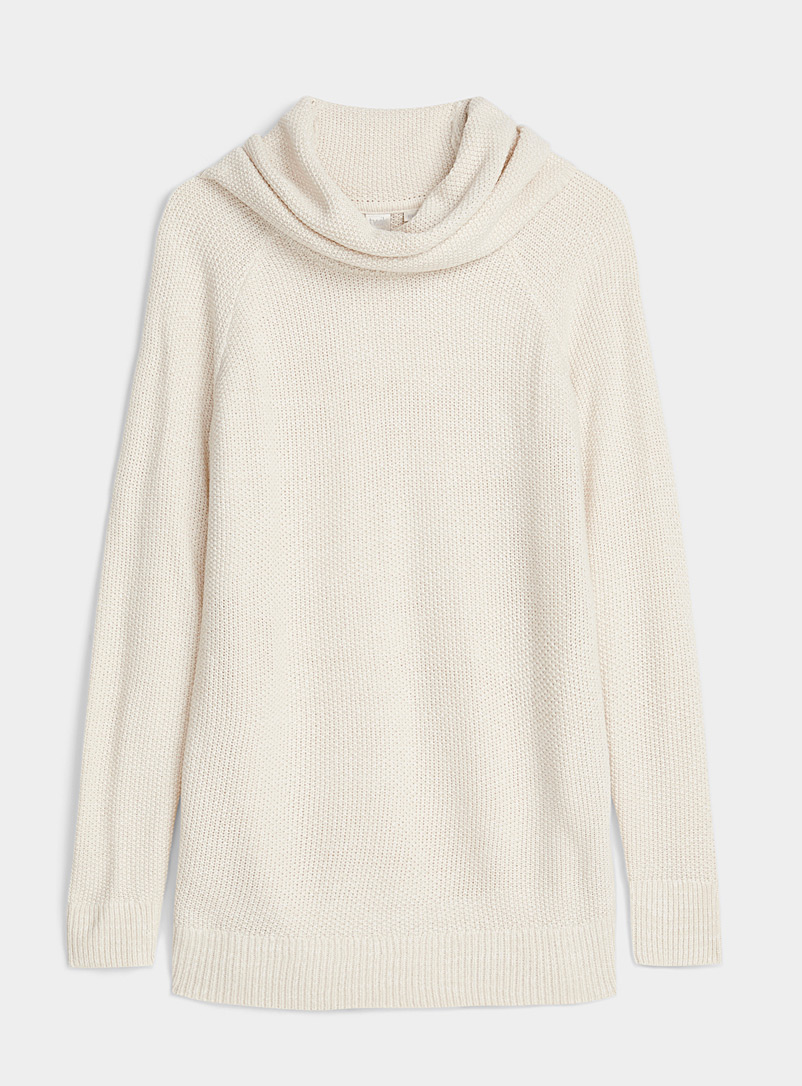 Twik Cream Beige Moss stitch knit turtleneck for women