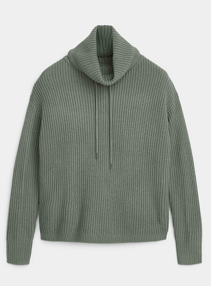 Twik Mossy Green Ribbed loose tunnel-collar sweater for women