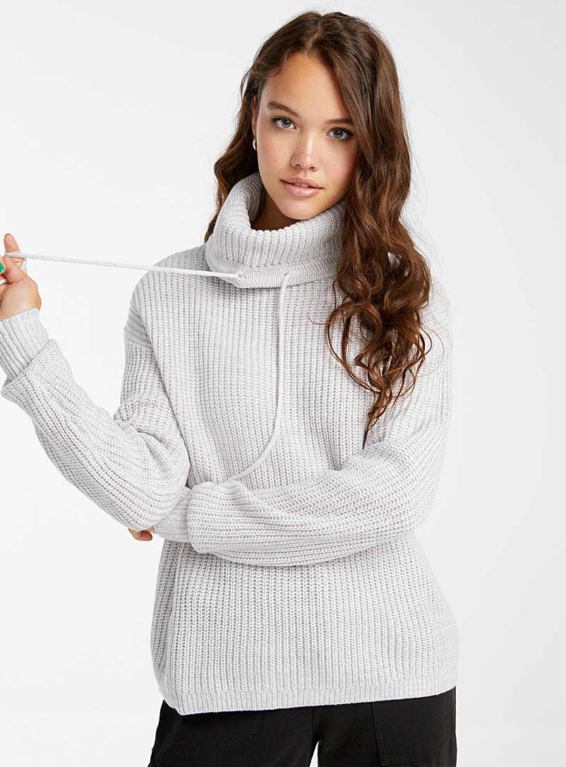 Ribbed loose tunnel-collar sweater