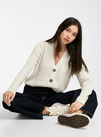 Twik Cream Beige Ribbed cropped cardigan for women