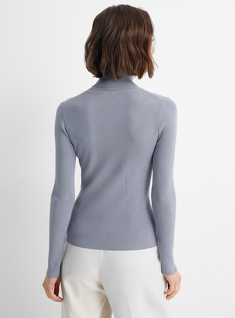 Contemporaine Slate Blue Fitted ribbed turtleneck for women