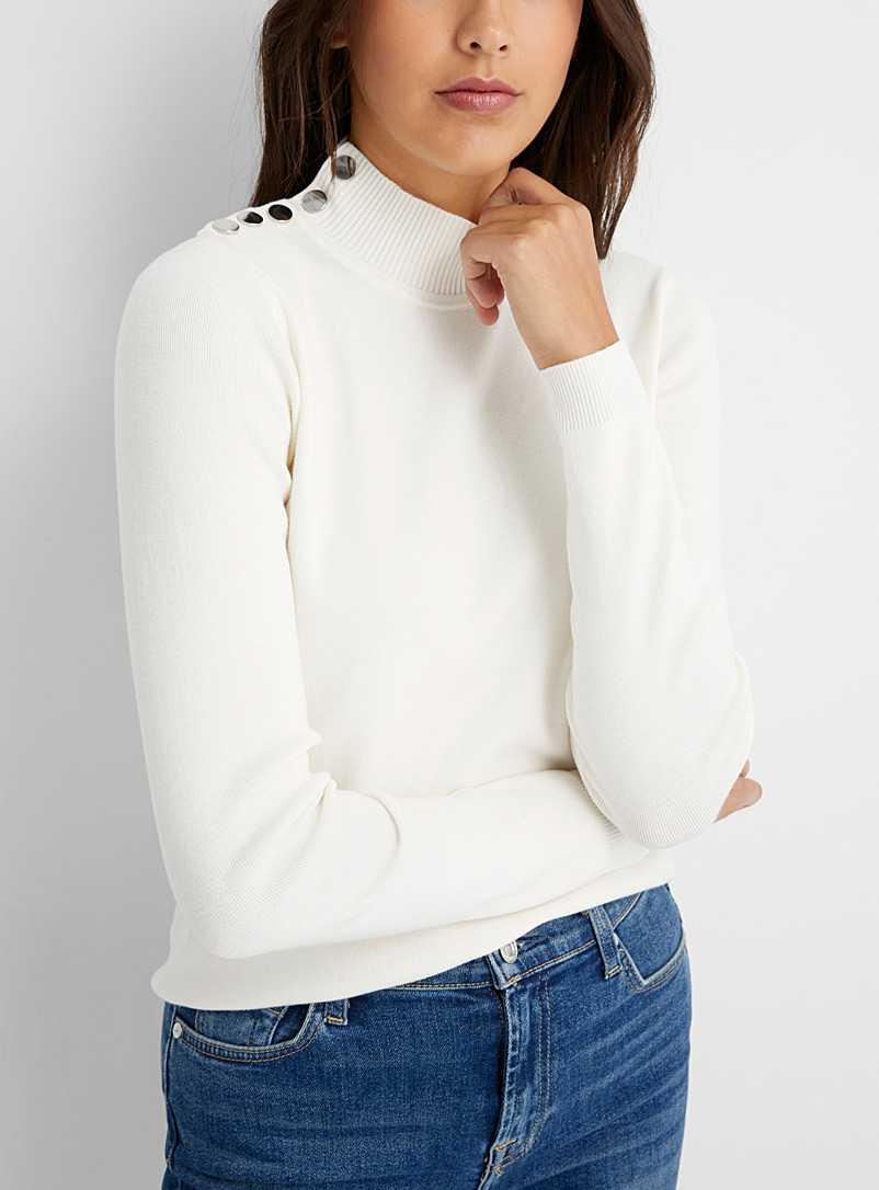 Contemporaine Ivory White Mirror button mock-neck sweater for women