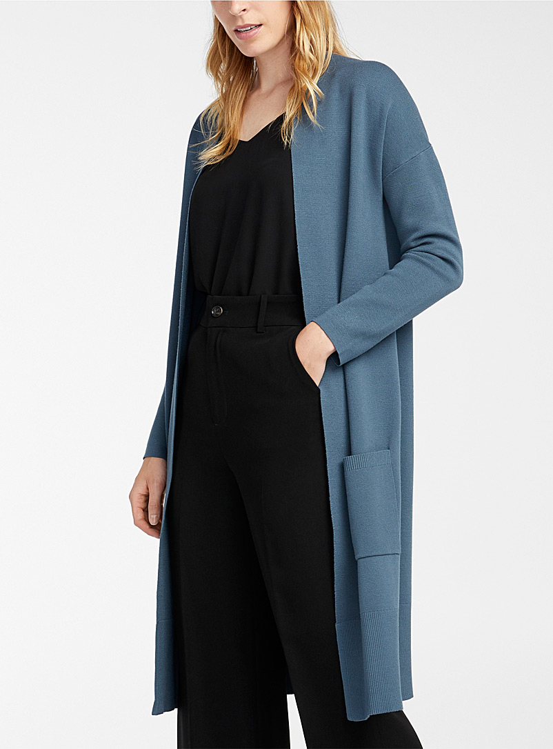 Contemporaine Dark Blue Minimalist long open cardigan for women