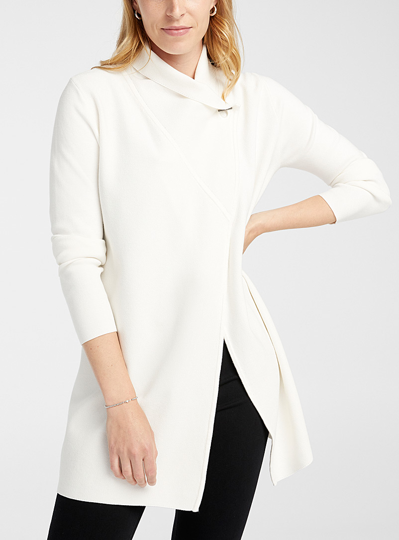 Contemporaine Ivory White Buttoned shawl-collar cardigan for women