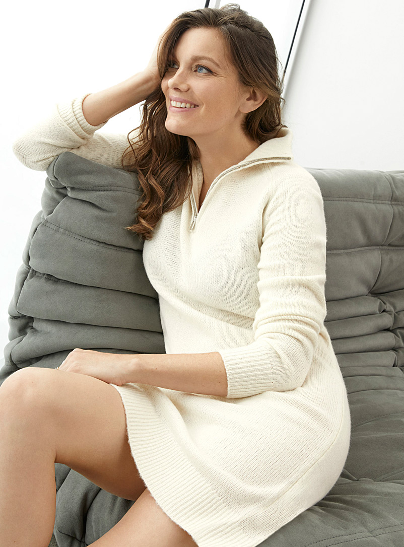 Zipped-collar sweater dress