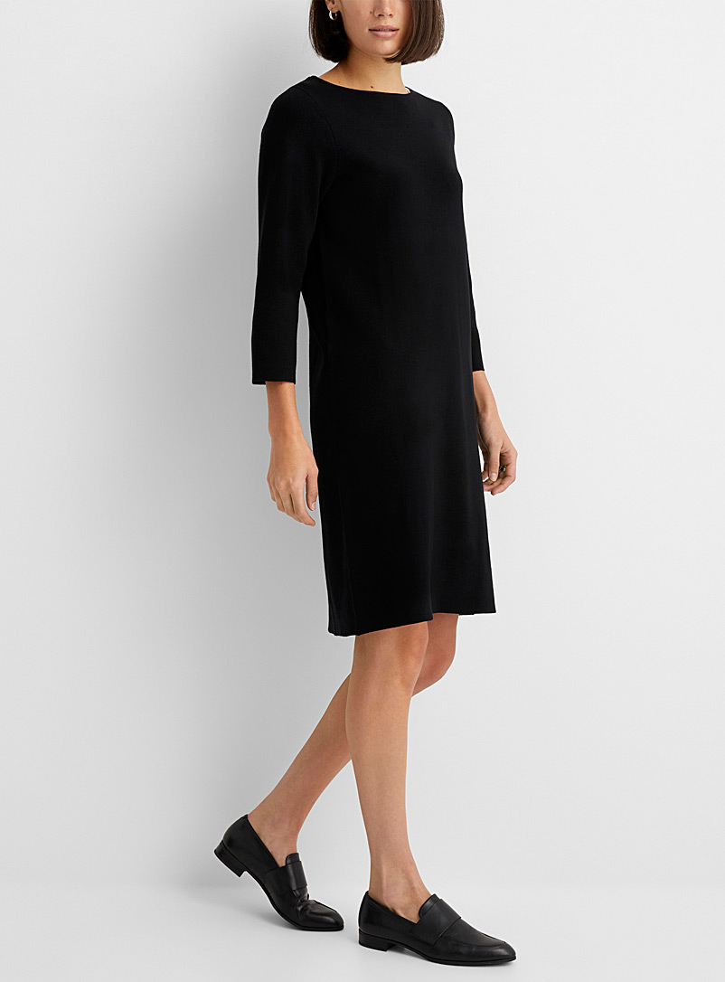 Contemporaine Black Boat-neck sweater dress for women