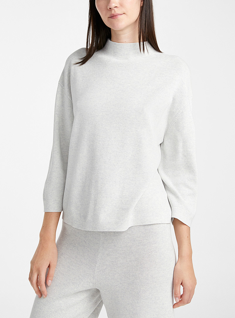 Modal and organic cotton mock-neck sweater