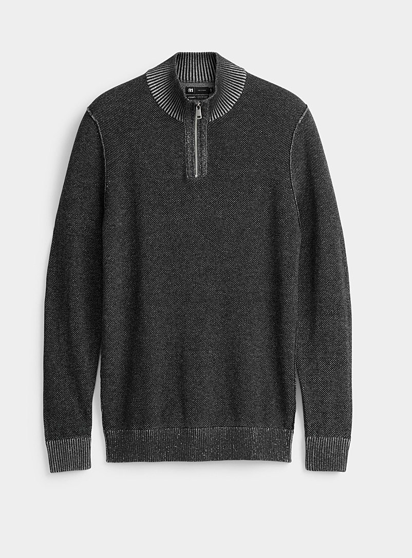 Le 31 Oxford Heathered knit half-zip sweater for men