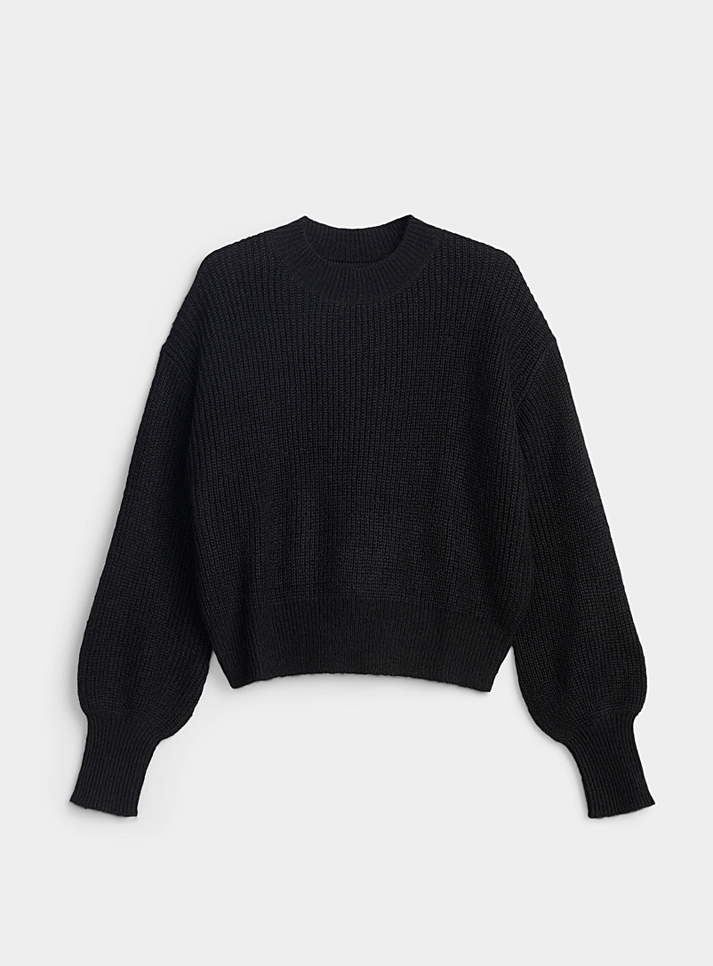 Twik Black Ribbed bubble-sleeve mock neck for women