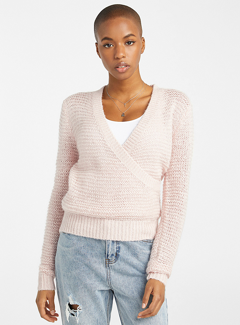 Twik Dusky Pink Openwork knit crossover sweater for women