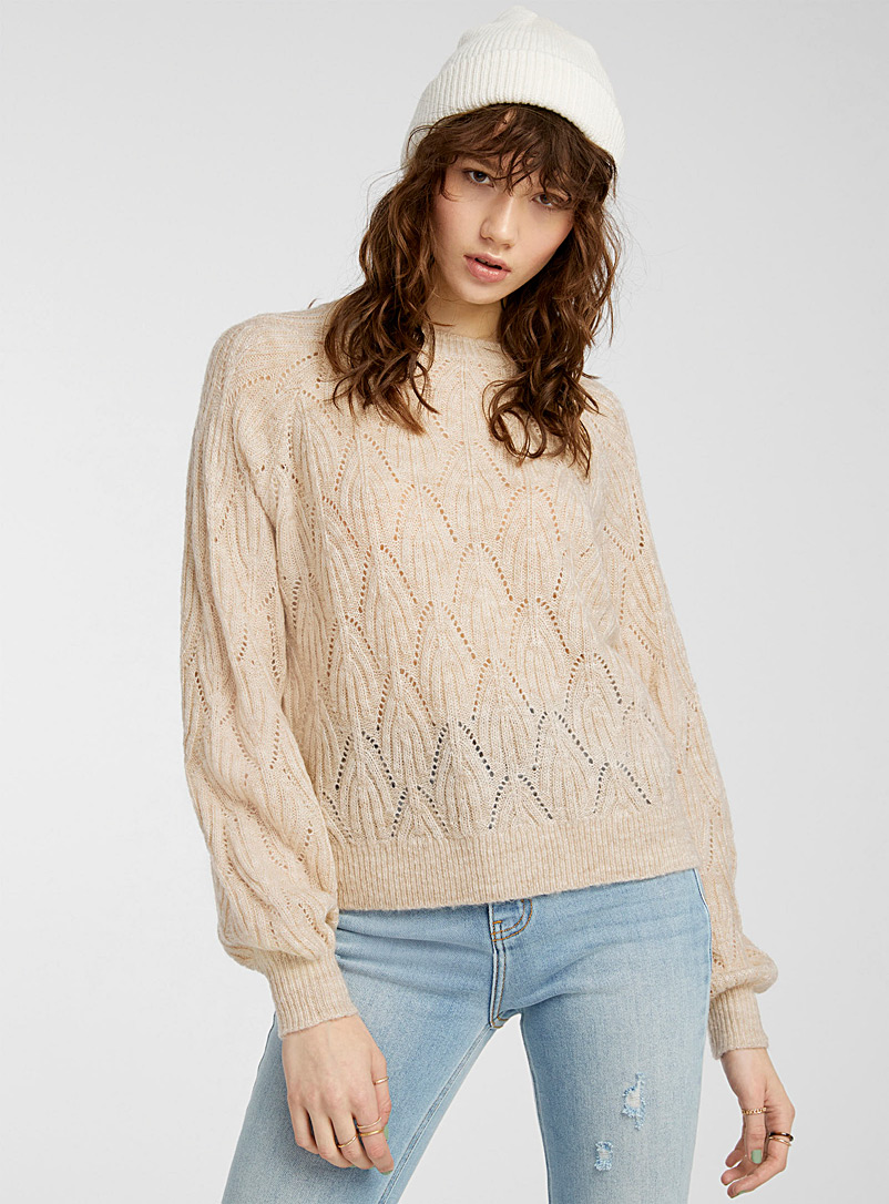 Twik Cream Beige Arched pointelle-knit sweater for women