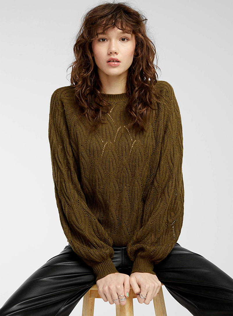 Twik Mossy Green Arched pointelle-knit sweater for women