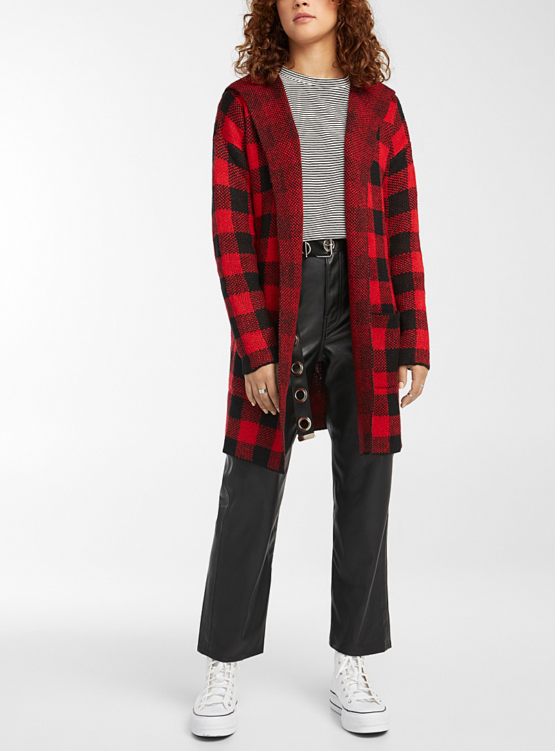 Twik Patterned Red Checked hooded cardigan for women