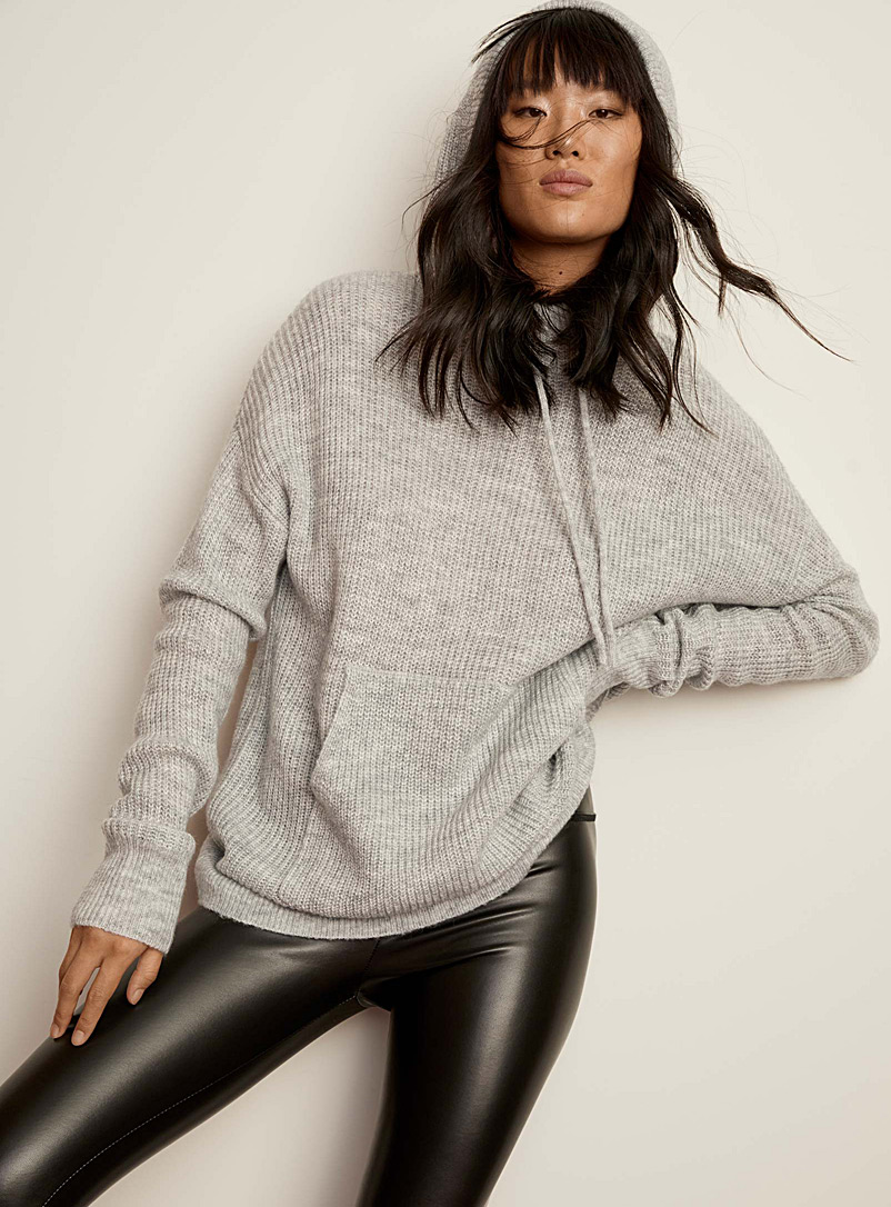 Twik Light Grey Ribbed knit hooded sweater for women