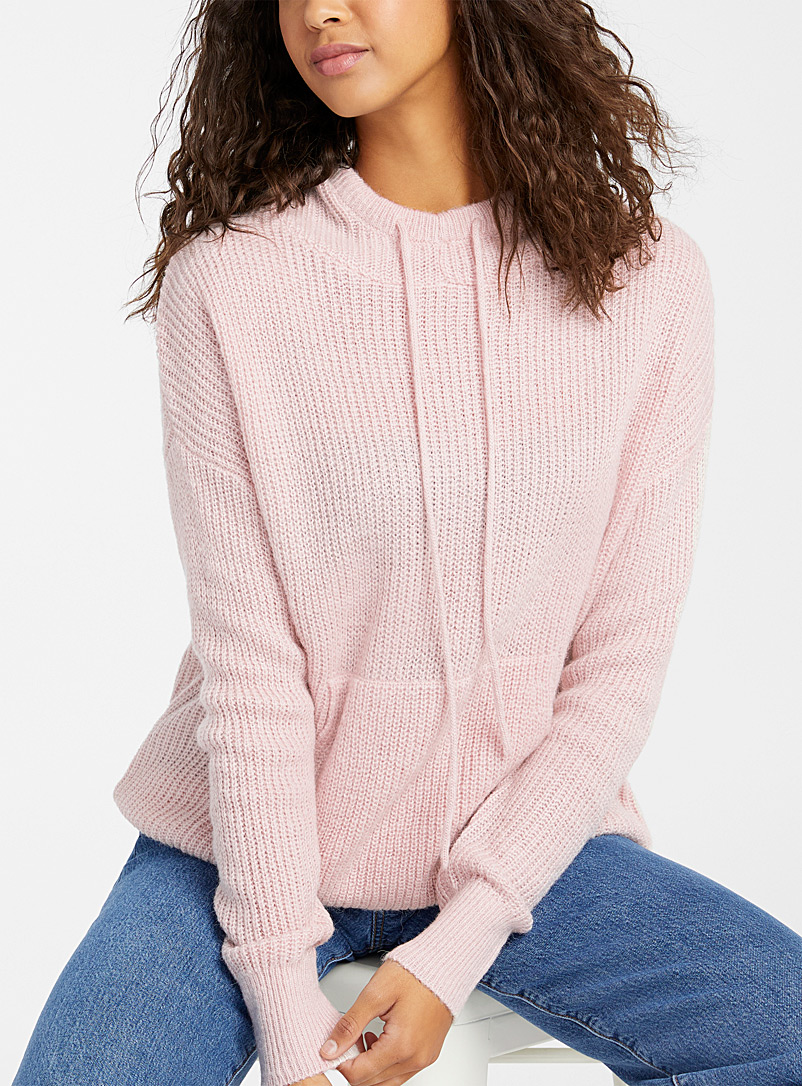Twik Dusky Pink Ribbed knit hooded sweater for women
