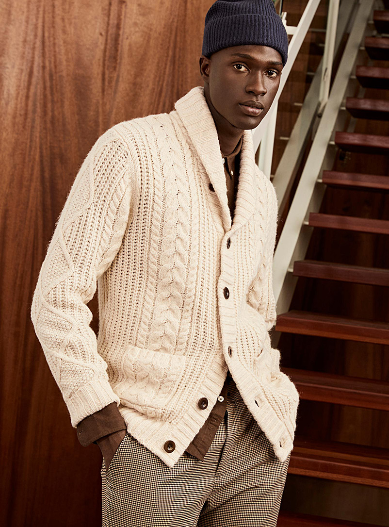 Twisted-cable shawl-collar cardigan
