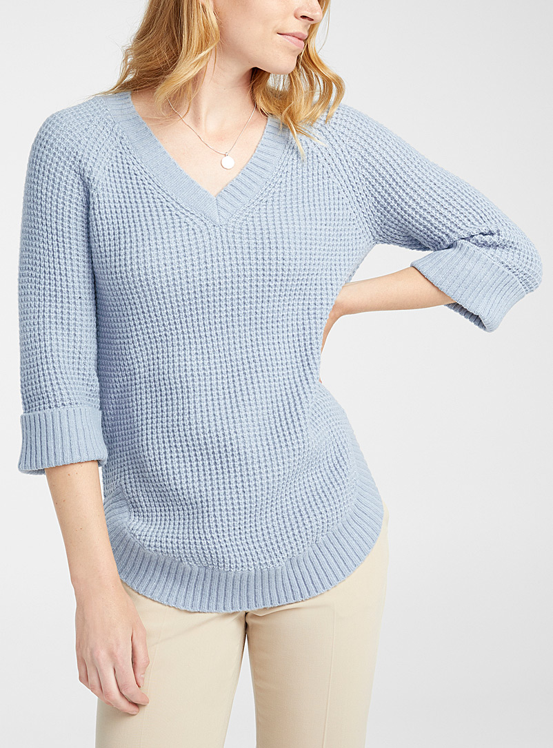 Contemporaine Baby Blue Rounded-hem waffle sweater for women