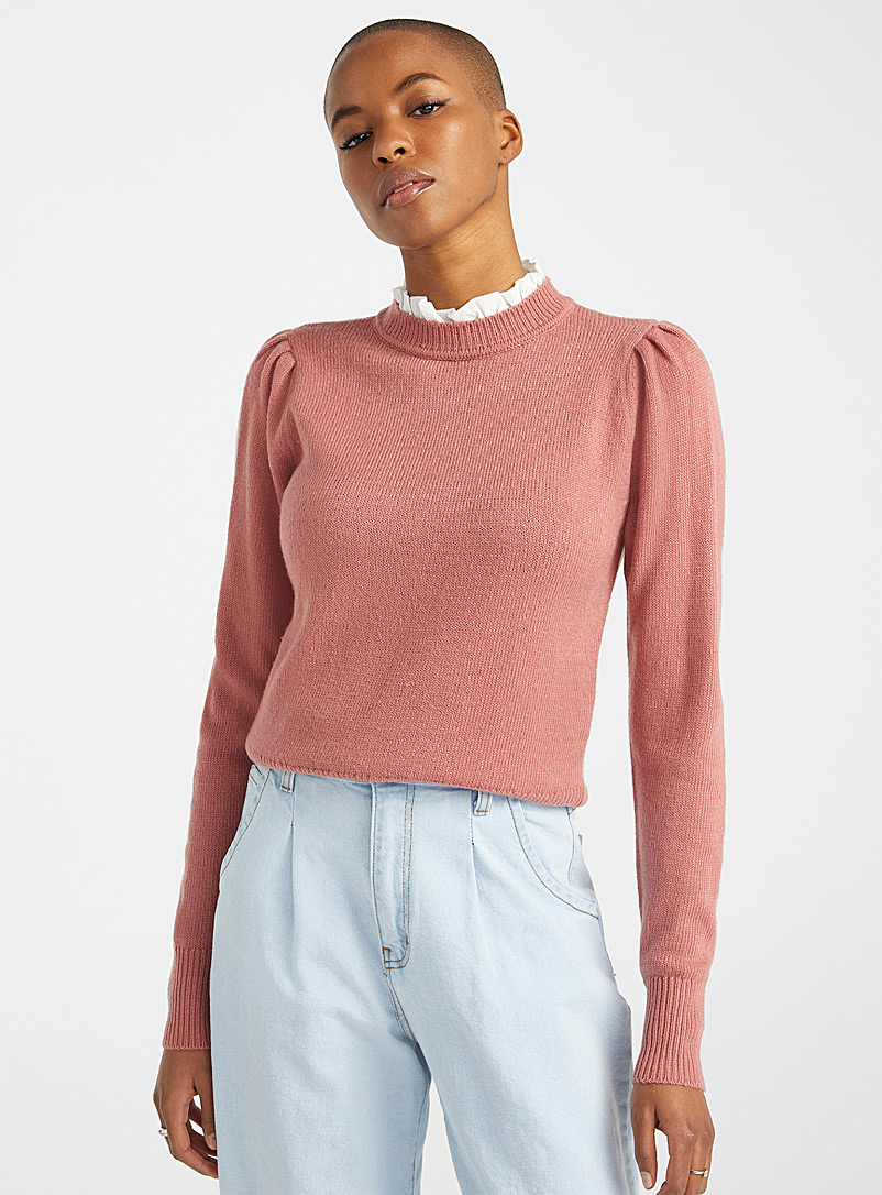Twik Medium Pink Puff-shoulder ruffle-collar sweater for women