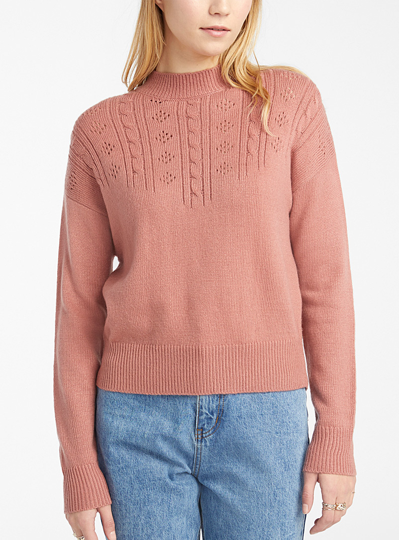 Cable pointelle sweater