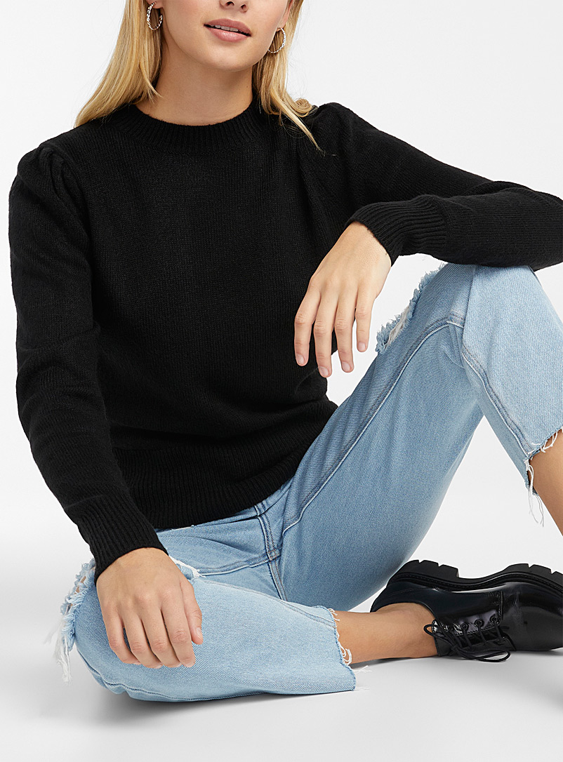 Twik Black Soft ruffled-shoulder sweater for women