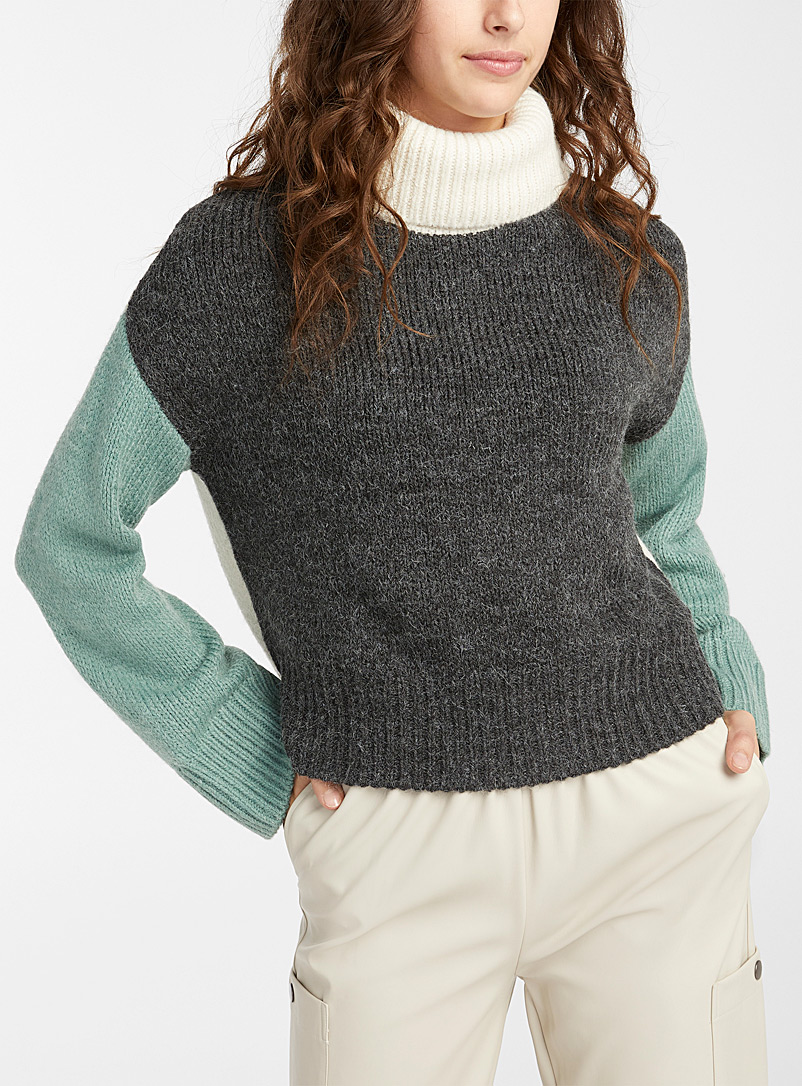 Twik Oxford Colour block turtleneck for women