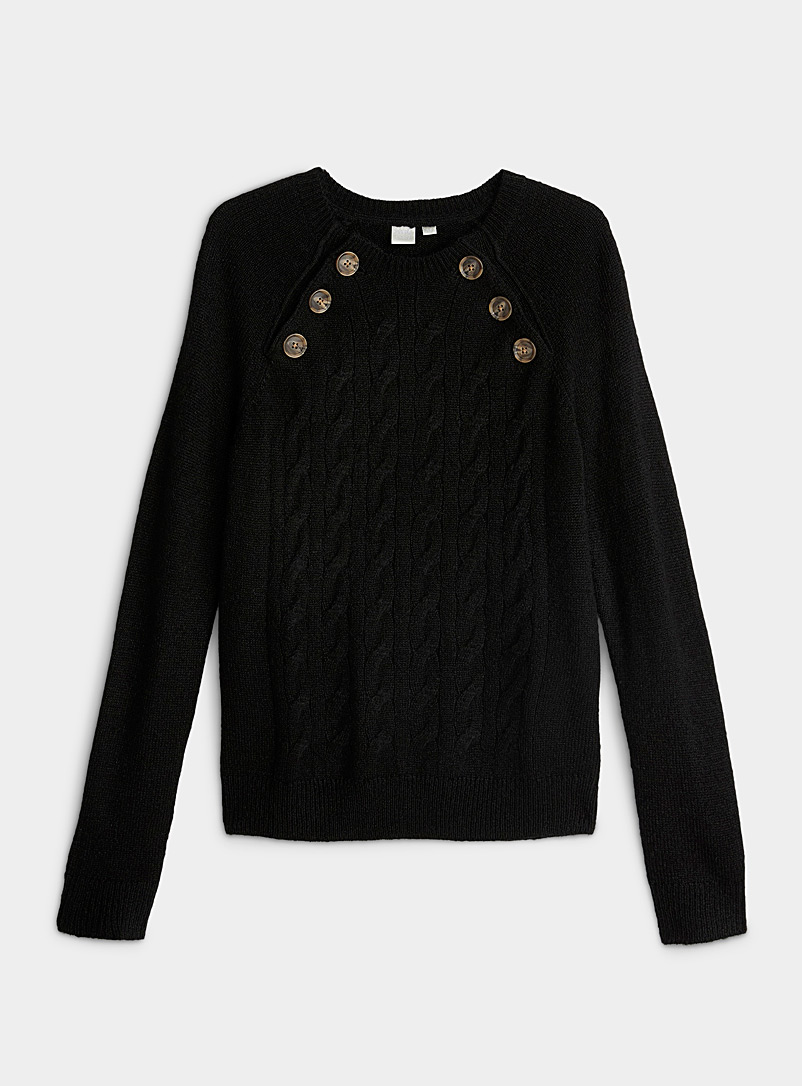 Twik Black Oblique button cable sweater for women