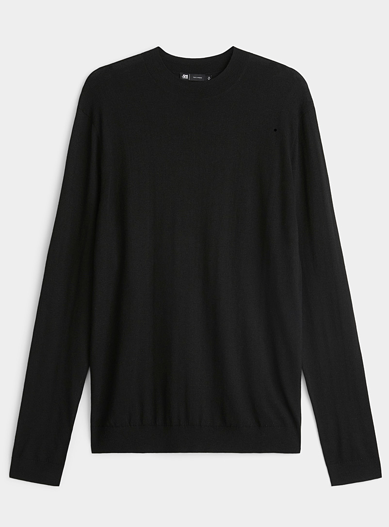 Le 31 Black Cashmere-blend sweater for men