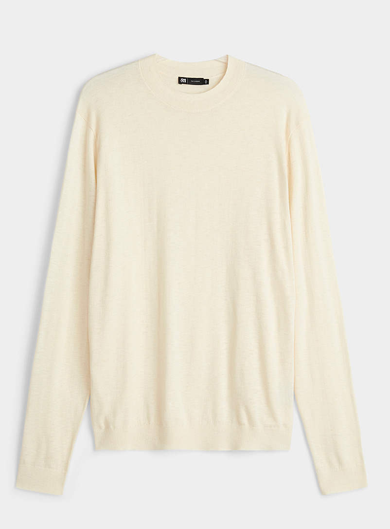 Le 31 Cream Beige Cashmere-blend sweater for men