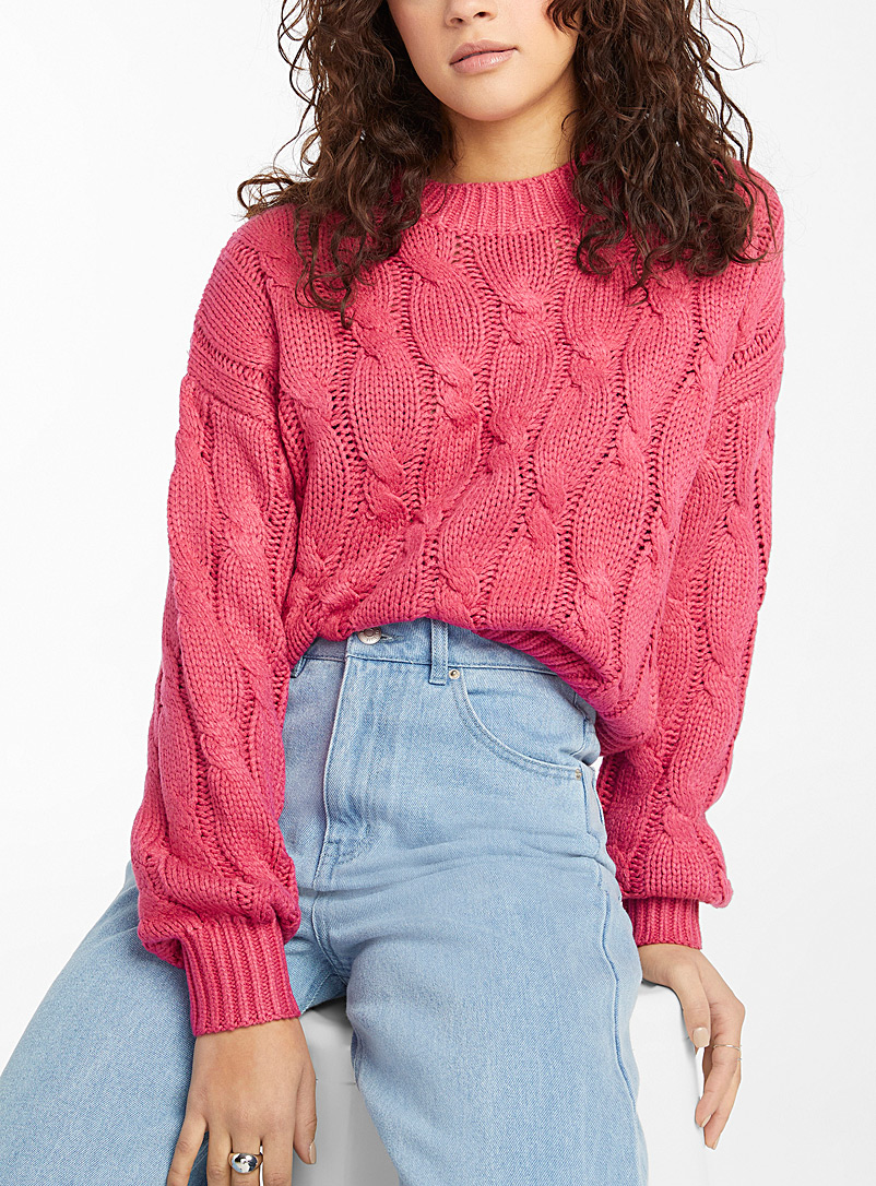 Twik Pink Loose mega-cable sweater for women