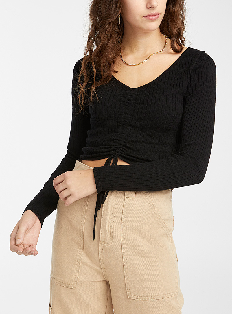 Twik Black Ribbed drawstring V-neck sweater for women