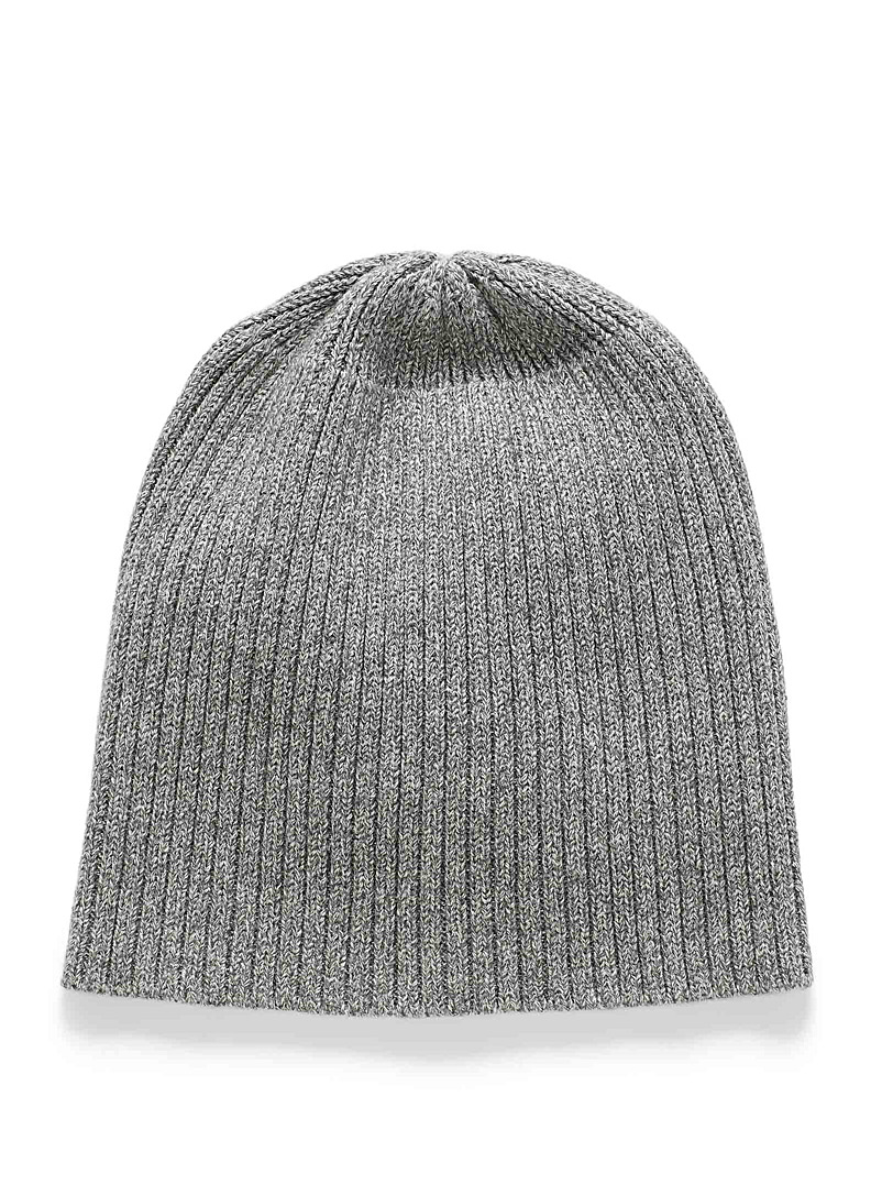 Le 31 Light Grey Basic ribbed tuque for men