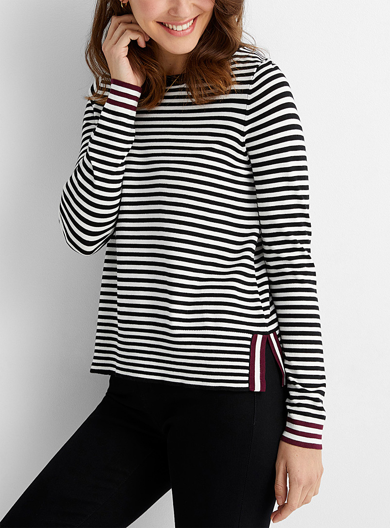 Contemporaine Black Contrast stripe sweater for women