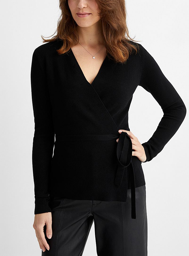 Contemporaine Black Ribbed crossover sweater for women
