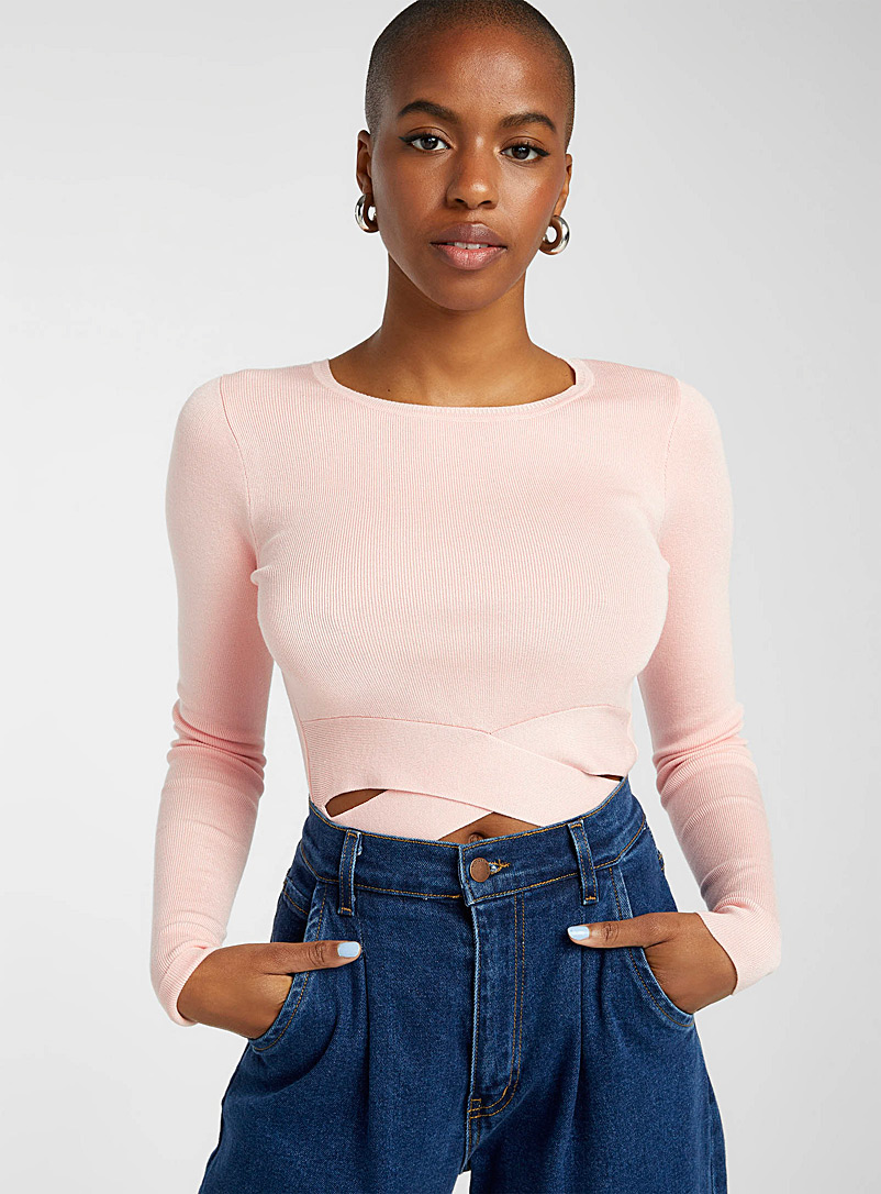 Twik Ivory White Crossed-band cropped sweater for women