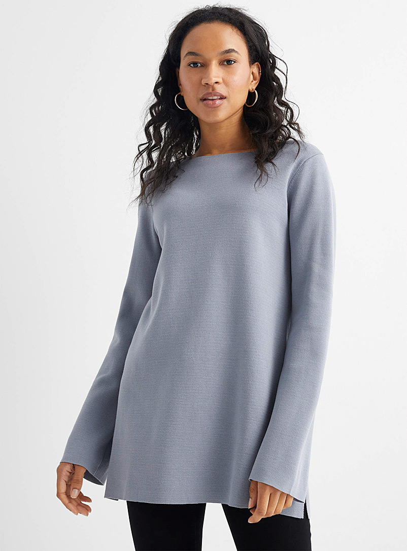 Contemporaine Baby Blue Bell-sleeve tunic for women