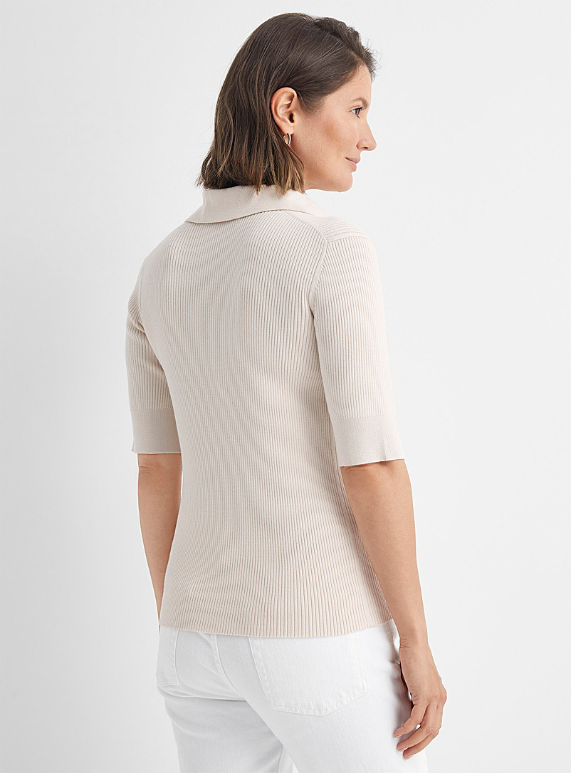 Contemporaine Cream Beige Fitted rib-knit Johnny collar sweater for women