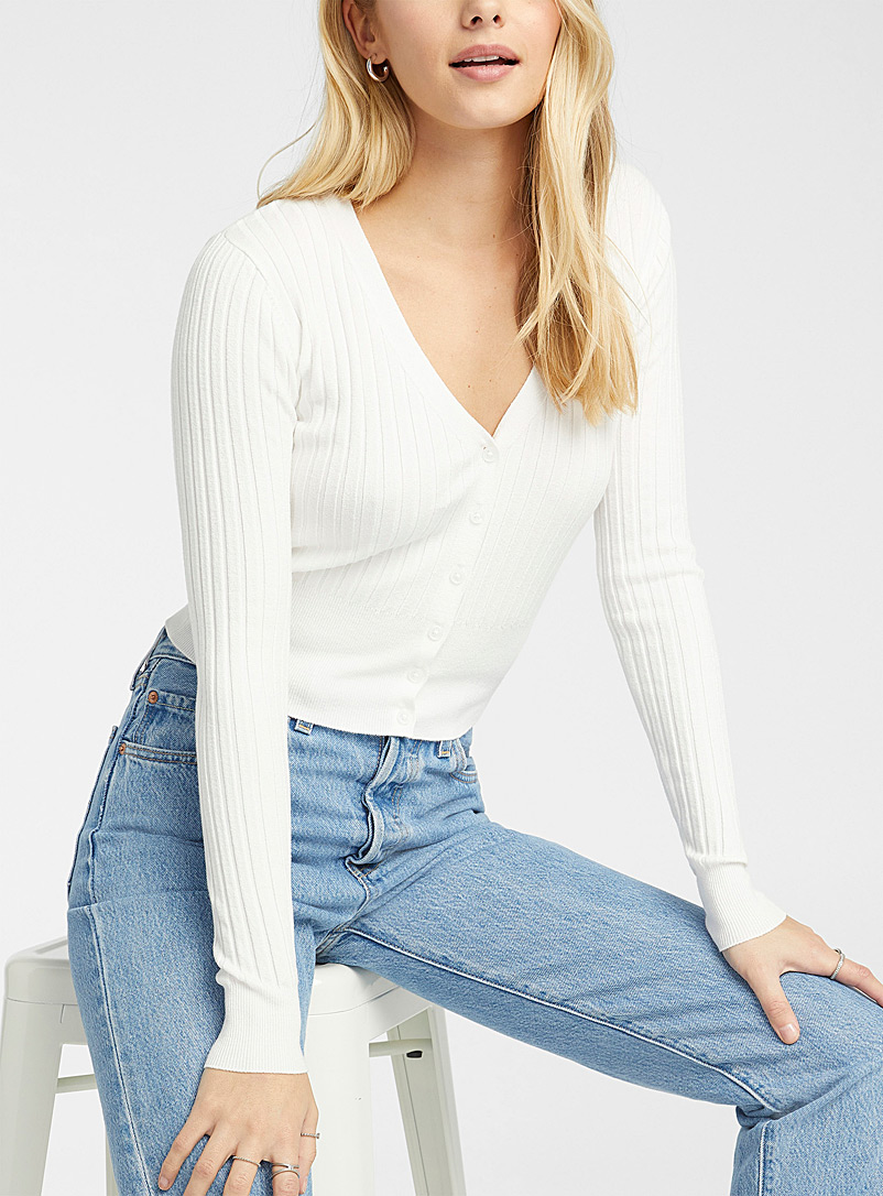 Ultra soft ribbed cropped cardigan