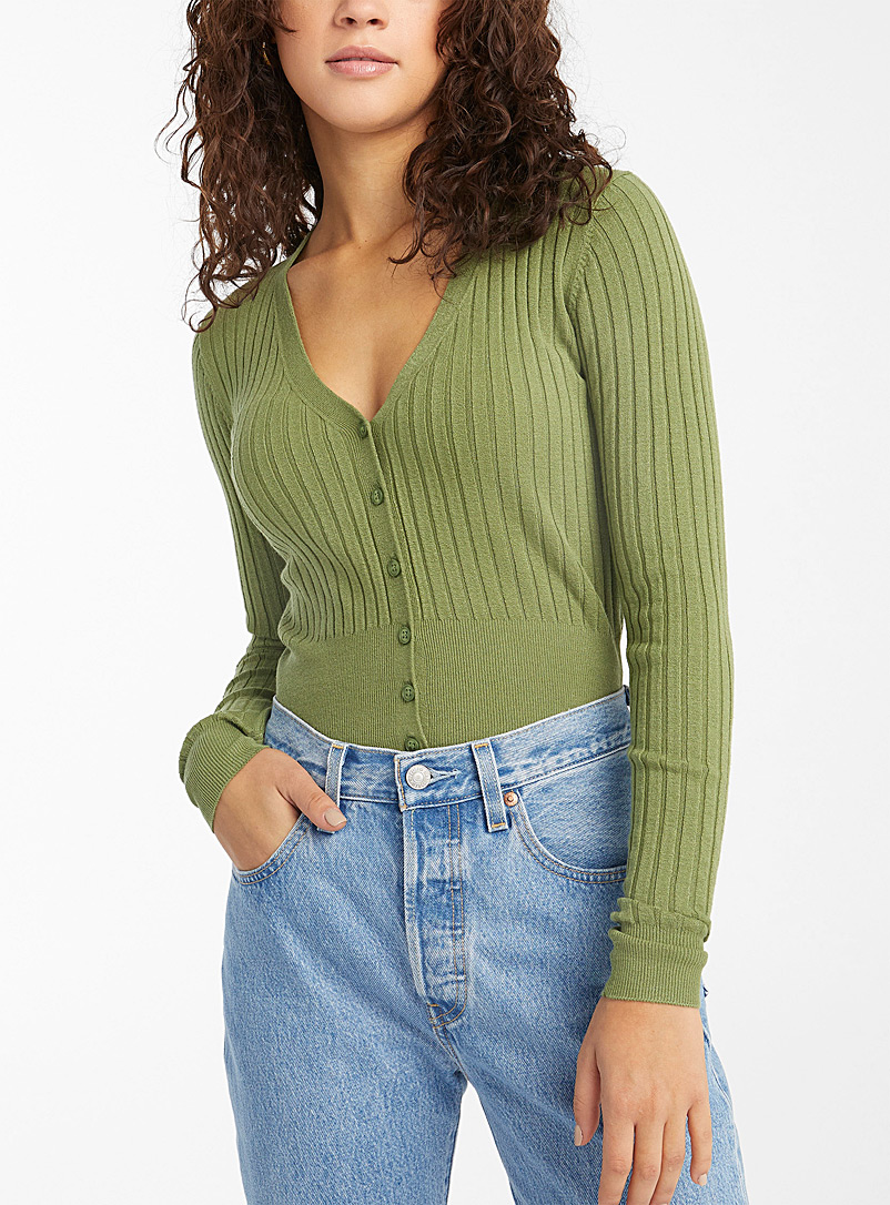 Twik Green Ultra soft ribbed cropped cardigan for women