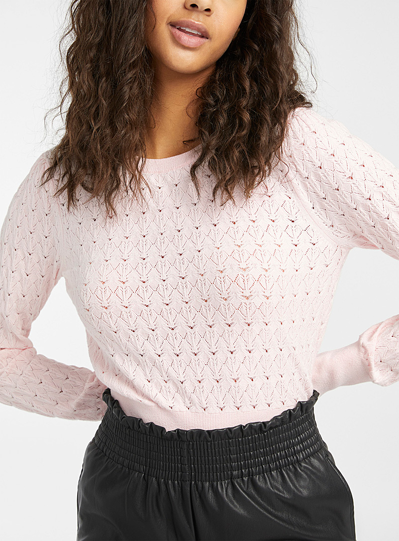 Twik Dusky Pink Puff-sleeve pointelle sweater for women
