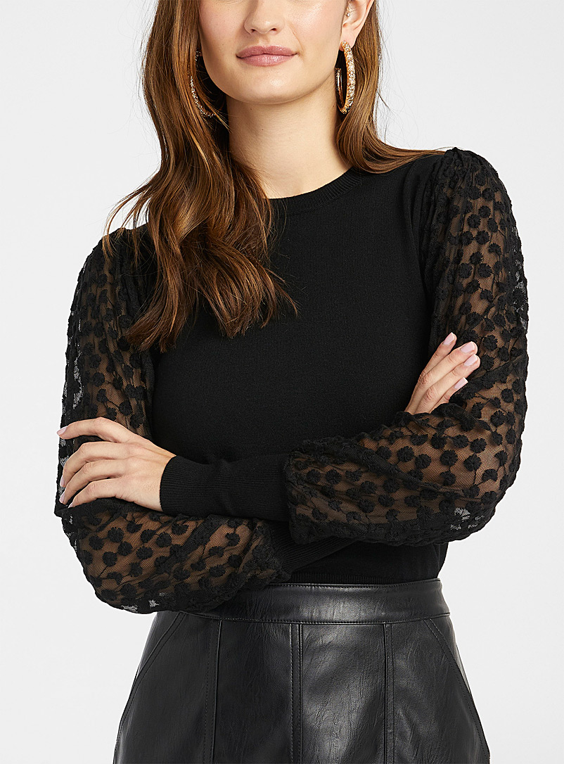Icône Black Eco-friendly viscose lace sleeve sweater for women