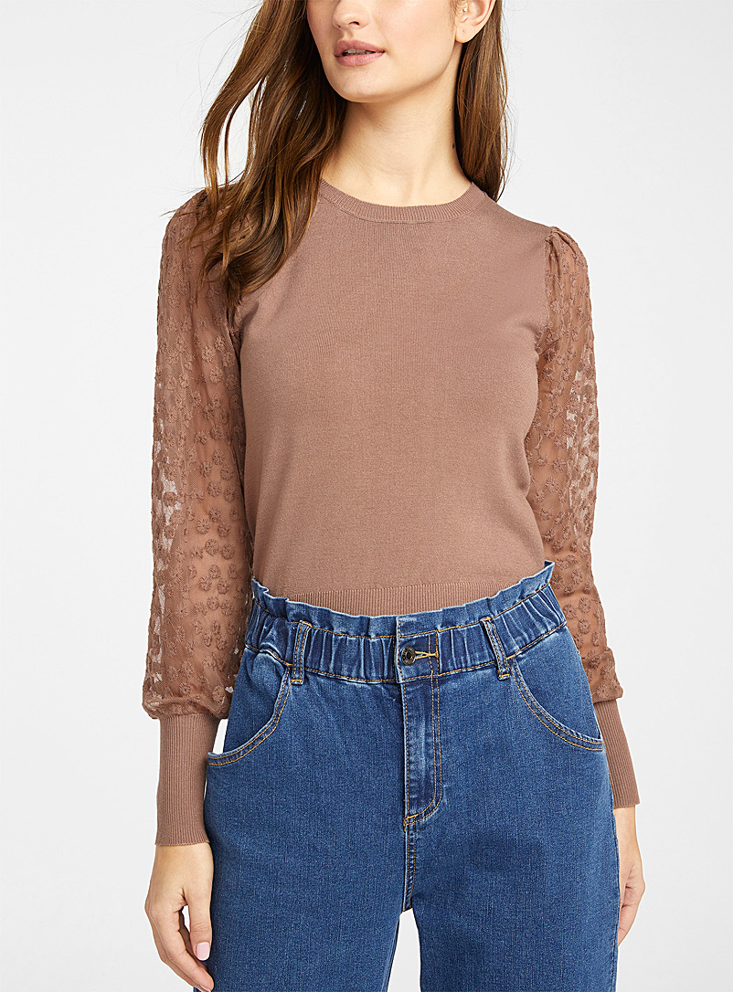 Eco-friendly viscose lace sleeve sweater